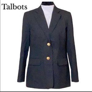 Lovely Talbots petite charcoal blazer gold buttons